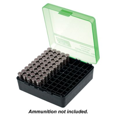 MTM Case-Gard P-100 Series Stackable Flip-top Pistol Ammo Box - .40 S&W/.45 ACP - Black/Green