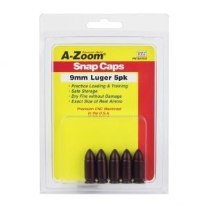 A-ZOOM Precision Metal 5-Pack of 9mm Luger Snap Caps (15116)