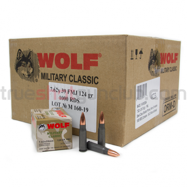 Wolf Ammunition - 7.62x39 - 124 Grain - FMJ - Wolf Military Classic - 1000 Rounds