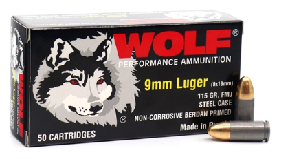 Wolf Ammunition - 9mm - 115 Grain - FMJ - Wolf Performance - 50 Rounds